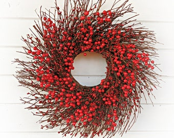 Winter Wreath-Christmas Decor-Christmas Wreath-Red Twig Wreath-Christmas Home Decor-Red Berry Wreath-Valentine Wreath-Summer Wreath-Gifts