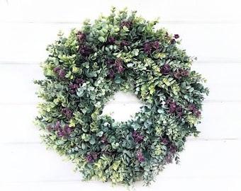 Fall Wreath-Modern Farmhouse Wreath-Greenery Wreath-Spring Wreath-Farmhouse Décor-FROSTED EUCALYPTUS Wreath-Summer Wreath-Door Wreath