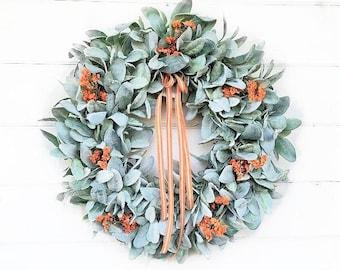 Lambs Ear Wreath-Farmhouse Wreath-Fall LAMBS EAR Wreath-Farmhouse Décor-Fall Wreath-Autumn Decor-Front Door Wreath-Greenery Wreath-Gifts