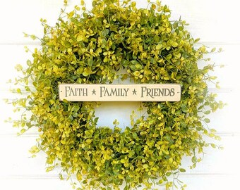 Winter Wreath-Spring Wreath-Farmhouse Decor-Door Wreath-Greenery Wreath-Housewarming Gift-Farmhouse Wreath-Door Sign-Wreaths-Outdoor Wreath