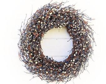 Winter Wreath-Country Home Décor-Farmhouse Wreath-BLUE & CREAM Wreath-Door Wreaths-Door Decor-Fall Door Wreath-Home Décor-Housewarming Gift