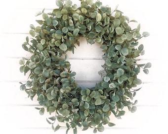 Fall Wreath-Farmhouse Wreath-Fall Door Wreath-GREEN PENNY LEAF Wreath-Farmhouse Décor-Fall Décor-Front Door-Autumn Décor-Housewarming Gift