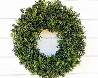 Boxwood Wreath-Farmhouse Decor-New England Boxwood Wreath-Farmhouse Wreath-Wreaths-Fall Wreath-YearRound Wreath-Outdoor Wreath-Housewarming