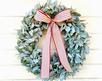 Christmas Wreath-Christmas Farmhouse Wreath-Lambs Ear Wreath-Wreaths-Farmhouse Decor-Housewarming Gift-Greenery Wreath-Door Wreath-Gifts