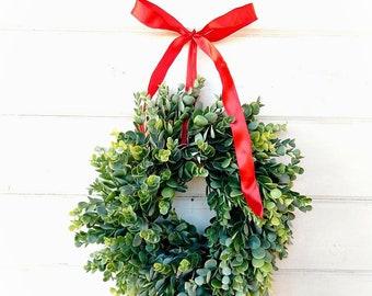 Christmas Wreath-Farmhouse Wreath-Small Wreath-Christmas Decor-Frosted Eucalyptus Wreath-MINI Window Wreath-Farmhouse-Gift for Teacher-Gift