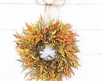 MINI Wreath-Window Wreath-Fall Wreath-ORANGE SIMILAX-Farmhouse Décor-Fall Décor-Door Wreath-Greenery Wreath-Fall Home Décor-Small Wreath
