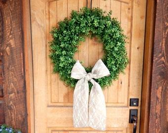 BOXWOOD Wreath-Summer Wreath-Outdoor Wreath-Faux Boxwood Door Wreath-Year Round Wreath-Home Decor-Artificial Wreath-Custom Made USA-Gifts