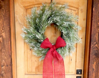 Winter Wreath-Farmhouse Wreath-Valentine Wreath-Holiday Wreath-SNOWY PINE Wreath-Door Wreath-Farmhouse Christmas Wreath-Holiday Decor