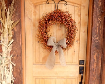 Fall Wreaths-Fall Door Wreath-Autumn Wreath-ORANGE Berry Wreath-Fall Home Decor-Pumpkin Spice-Scented Wreath-Rustic Primitive Home Decor