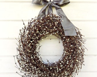 Gray & Cream Wreath-Farmhouse Decor-Door Wreath-Summer Wreath-Fall Wreath-Winter Wreath-Housewarming Gift-Farmhouse Wreath-Shabby Chic Decor