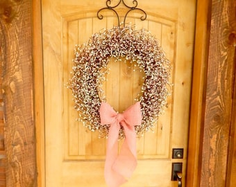 Spring Wreath-Wedding Wreath-Shabby Chic LARGE PINK & WHITE Door Wreath-Gift for Mom-Shabby Chic Wedding-Housewarming Gift-Custom Wreaths