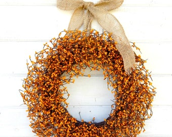Fall Door Wreath-Thanksgiving Wreath-Burlap Wreath-AutumnDecor-PUMPKIN ORANGE Wreath-Rustic Home Decor-Scented Wreath-Custom Made Gifts USA