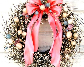 Easter Wreath-Spring Door Wreath-Easter Door Decor-EASTER EGG Wreath-Holiday Home Decor-Pastel Berry Wreath-Scented Wreaths-Custom Made Gift