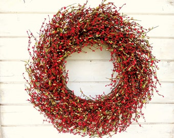 Christmas Wreath-Winter Wreath-Holiday Wreath-Christmas Door Wreath-RED Berry Wreath-Rustic Christmas Wreath-Holiday Home Decor-Scent Wreath