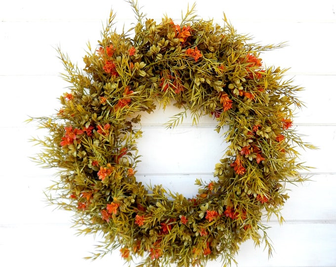 Featured listing image: Fall Wreath-Fall Door Wreath-Autumn Wreath-FAll Decor-Boxwood Wreath-Outdoor Wreath-Year Round Wreath-Home Decor-Artificial Wreath