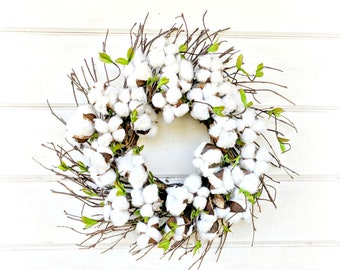 MINI Cotton Wreath-Farmhouse Style-NEW 2018-Cotton Wreath-Home Decor-Rustic Farmhouse Decor-Rustic Wreaths-Spring Wreath-Small Wreath-Gifts