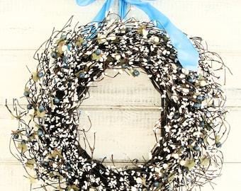 Wedding Wreath-Winter Wreath-Wedding Decor-TEAL BLUE Wreath-Vintage Wedding Decor-Wedding Decorations-Gift for Mom-Housewarming Gifts