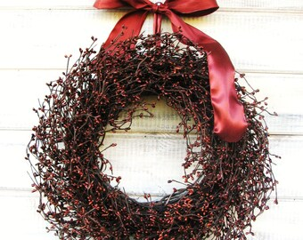 Fall Wreaths-RUSTIC CHOCOLATE BROWN Wreath-Fall Door Decor-Woodland Wedding-Gift for her-Primitive Door Decor-Scented Wreaths-Custom Made