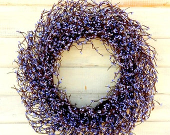 Valentine Wreath-Spring Wreath-LARGE LAVENDER WREATH-Spring Door Wreaths-Purple Berry Wreath-Summer Door Decor-Summer Wedding Wreath-Gifts