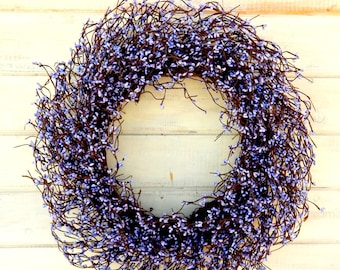 Spring Wreath-Large Wedding Wreath-Victorian Decor-Country Chic Home Decor-Purple Berry Wreath-Wreath for Mantel-Fireplace-Housewarming Gift