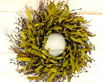 Spring Wreath- Spring Door Wreath-Blue Twig Wreath-Farmhouse Home Decor-BLUE Bay Leaf Wreath-Blue Home Decor-Scented Wreath-Greenery Wreath