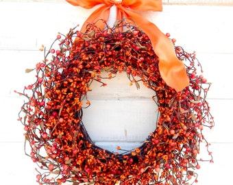 Fall Wreath-Fall Berry Wreath-RUSTIC PUMPKIN ORANGE Door Wreath-Orange Home Decor-Autumn Wreath-Fall Home Decor-Choose Made-Scented Wreaths