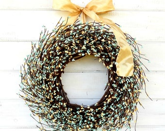 Spring Wreath-Spring Weddings-TEAL & YELLOW Berry Wreath-Teal Wedding Decor-Gift for Mom-Shabby Chic Wedding Wreath-Choose Scent and Ribbon