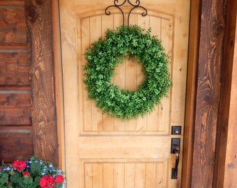 BOXWOOD Wreath-Fall Wreath-Door Wreath-Outdoor Wreaths-Faux Boxwood-Summer Wreath-Year Round Wreath-Rustic Home Decor-Holiday Wreath-Gifts