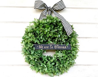 Farmhouse Decor-Lemon Leaf Wreath-Greenery Wreaths-Outdoor Wreath-Farmhouse Door Wreath-Outdoor Wreath-Home Decor-Housewarming Gift