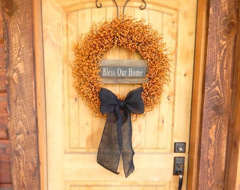 Fall Wreath-Fall Home Decor-BLESS OUR HOME-Large Pumpkin Orange & Black Wreath-Fall Door Decor-Primitive Wreath-Custom Made usa-Gifts