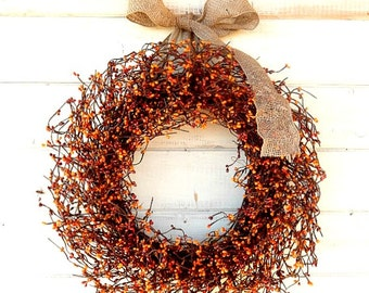 Fall Wreath-Fall Decor-Thanksgiving Wreath-Autumn Door Decor-Fall Home Decor-Rustic Home Decor-Scented Wreath-Housewarming Gift-Home Decor
