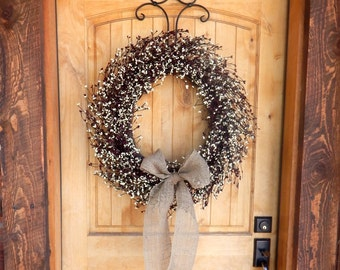 Primitive Fall Door Wreath-Fall Wreaths-BURLAP BURGUNDY & CREAM Wreath-Large Fall Door Wreath-Rustic Home Decor-Custom Made Scented Wreaths