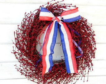 July 4th Wreath-Summer Wreath-4th July Decor-Patriotic RED White Blue Wreath-Red Berry Wreath-Holiday Home Decor-Scented Wreath-Made USA