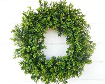Boxwood Wreath-Farmhouse Wreath-Wreaths-Farmhouse Decor-Summer Wreath-Year Round Wreath-Outdoor Wreath-YearRound Wreath-Housewarming Gift