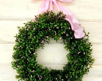 Boxwood Wreath-Spring Wedding Decor-Weddings-PINK Berry BOXWOOD Wreath-Wedding Wreath-Gift for Mom-Custom Made USA-Housewarming Gift