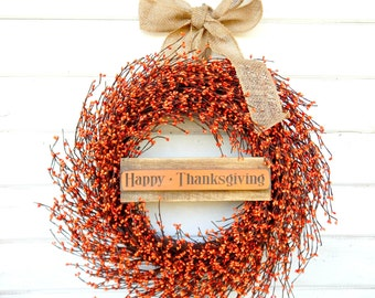 Fall Wreath-Thanksgiving Door Wreath-Fall Home Decor-LARGE Wreath-Autumn Decor-ORANGE Wreath-Rustic Home Decor-Autumn Wreath-Scent Wreaths