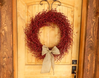 Christmas Wreath-Winter Wreath-Large RED Wreath-Holiday Door Wreath-Wreaths-Farmhouse Door Wreath-Christmas Home Decor-Holiday Wreaths-Gifts