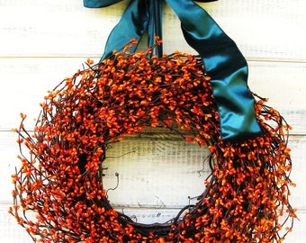 Thanksgiving Wreath-Fall Door Wreath-Fall Wreaths-Holiday Door Wreath-Orange Berry Wreath-Scented Wreaths-Rustic Door Decor-Scented Wreaths