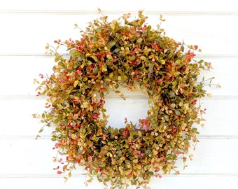Fall Wreath-READY TO SHIP-Autumn Wreath-Fall Door Wreath-New 2018-Red Green & Gold Bog Pimpernel-Farmhouse Decor-Fall Decor-Autumn Decor