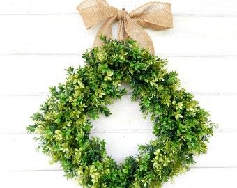 Boxwood Wreath-Fall Wreath-BURLAP BOXWOOD Wreath-Housewarming Wreath-Farmhouse Decor-Outdoor Wreaths-Year Round Wreath-Wedding Gift