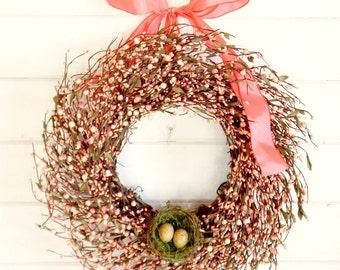 Spring Wreath-Spring Door Wreath-Easter Door Wreath-PINK BERRY WREATH-Summer Door Wreaths-Gift for Mom-Country Chic Decor-Scented Wreath
