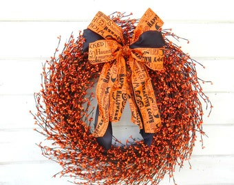 Halloween Wreath-Halloween Home Decor-Fall Wreath-Autumn Wreath-ORANGE Berry Wreath-Fall Door Decor-SCENTED Wreath-Holiday Decor-Gifts