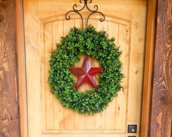 Summer Wreath-Boxwood Wreath-4th of July Wreath-RED BARN STAR Wreath-Texas Star Wreath-Grapevine Wreath-Outdoor Wreath-Scented Wreaths-Gift