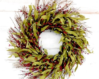 Christmas Wreath-Winter Wreath-Winter Door Wreaths-Christmas Home Decor-Door Wreath-Rustic Home Decor-Twig Wreath-RED Bay Leaf Wreath-Gifts