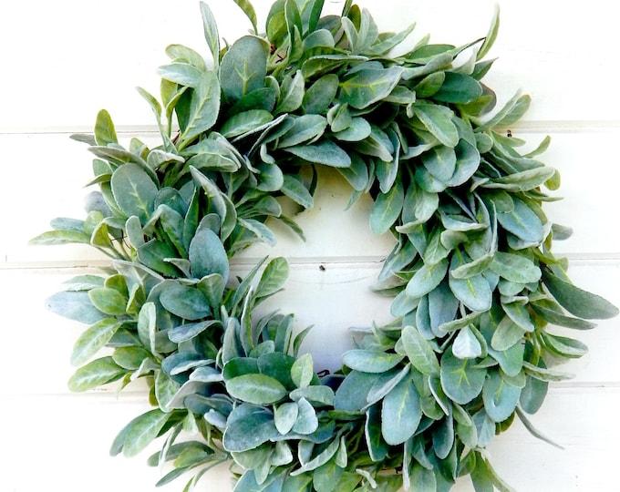 Featured listing image: Farmhouse Wreath-Lambs Ear Wreath-Wreaths-Fixer Upper Decor-Farmhouse Decor-Housewarming Gift-Greenery Wreath-Door Wreath-Home Decor-Wreath
