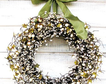 Wedding Decor-Weddings-Winter Wedding-SAGE & CREAM BERRY Wreath-Vintage Wedding Decor-Housewarming Gift-Holiday gifts-Scented Wreath-Gifts