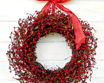 Summer Wreath-Fall Wreath-RED Berry Wreath-Winter Wreath-Christmas Wreath-Gift for Mom-Scented Wreath-Holiday Gift- Wreaths-Housewarming