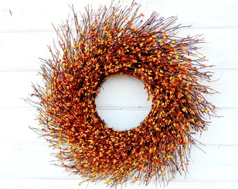 FALL WREATH-Autumn Decor-Thanksgiving Wreath-Rustic TWIG Door Wreath-Fall Home Decor-Rustic Wreaths-Custom Made Gifts-Housewarming Wreath