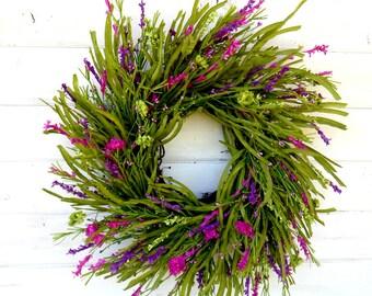 Summer Wreath-Summer Home Decor-PURPLE WILDFLOWERS-Twig Wreath-Farmhouse Decor-Spring Wreath-Country Home Decor-Gift For Mom-Door Wreath