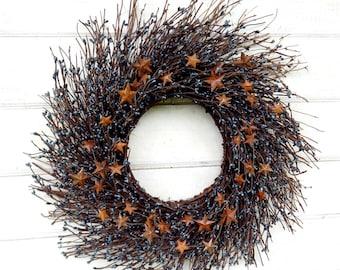 Summer Wreath-4th of July Wreath-Americana Wreath-Primitive Country Door Wreath-Rustic Star Wreath-Military Decor-RUSTIC BLUE TWIG Wreath